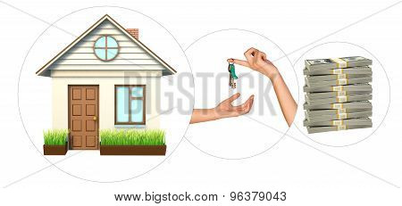 House with hand holding keys