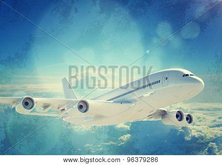 Jet in blue sky