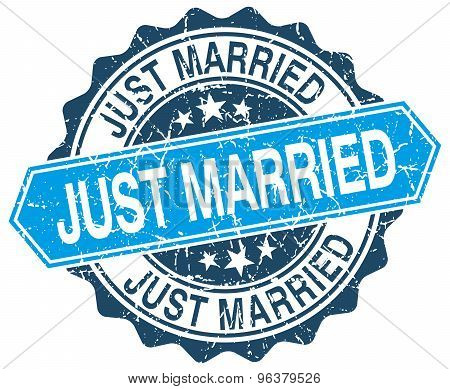Just Married Blue Round Grunge Stamp On White