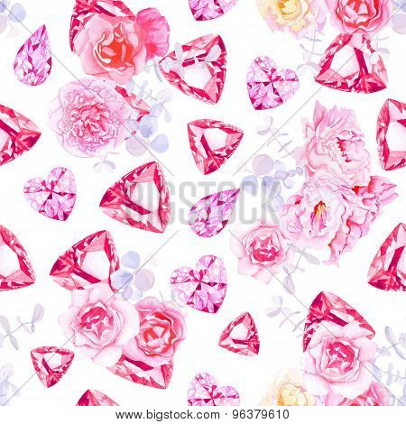 Pink Diamonds, Peonies And Roses Vector Print.