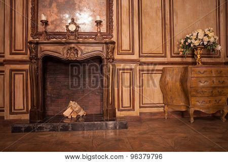 vintage room with a fireplace