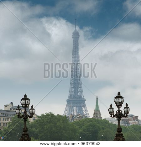 Eiffel tower in Paris. View from the bridge over the Seine river