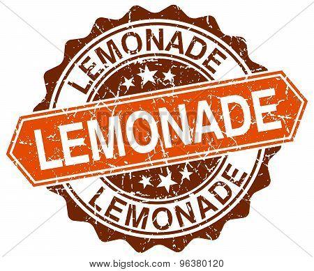 Lemonade Orange Round Grunge Stamp On White