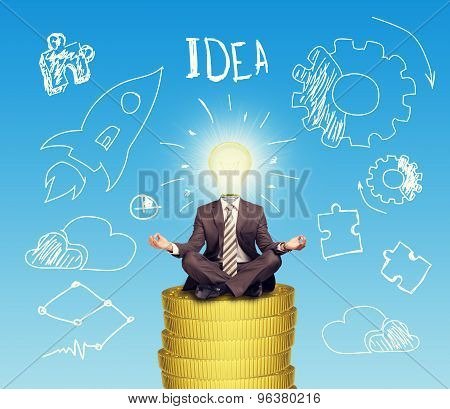 Businessman sitting on coins step