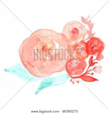 Vector Watercolor Greeting Card Flowers. Handmade. Congratulations.