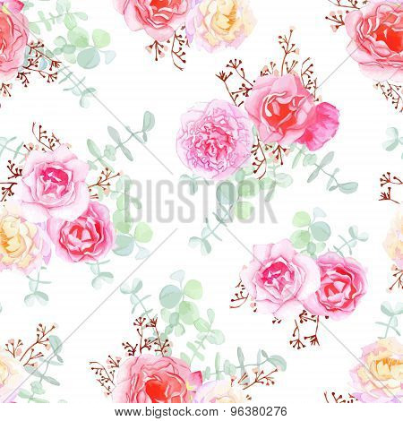 Delicate Roses Seamless Vector Pattern