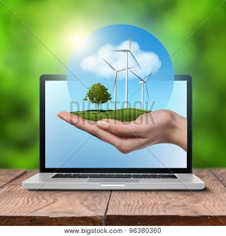 Wind turbines on meadow with tree holds in woman hand against blue sky and clouds in open laptop on wooden table. Worldwide Green energy concept