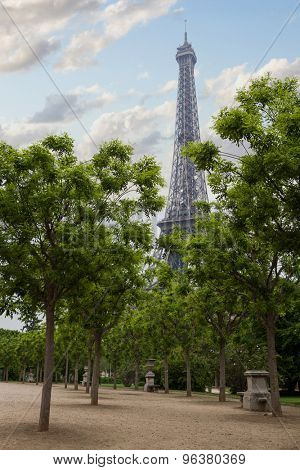 Eiffel tower in Paris. View from the city park