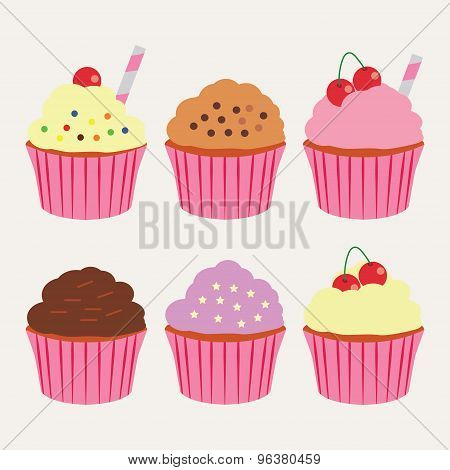 Cupcakes. Set of sweet vector cupcakes.