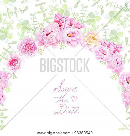 Garden Peonies Wedding Vector Card