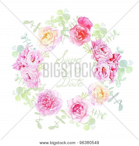 Wedding Rose And Peonies Wreath Vector Card