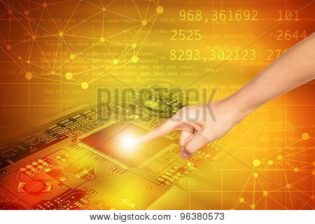 Humans finger touching motherboard