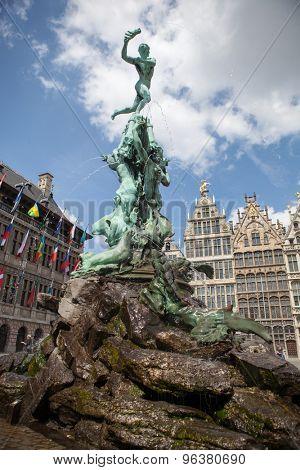 Monument on Grote Markt (Big Market Square) in the Antwepen, Belgium