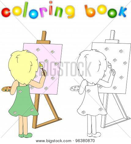 Girl With Palette And Brush Painting On Canvas. The Artist With His Easel. Coloring Book