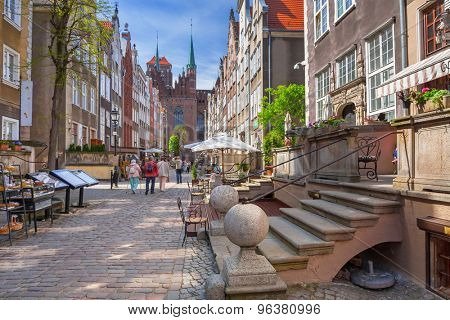 GDANSK, POLAND - MAY 11, 2015: Architecture of Mariacki street in old town of Gdansk, Poland. Baroque architecture of the Gdansk is one of the most notable tourist attractions of the city.