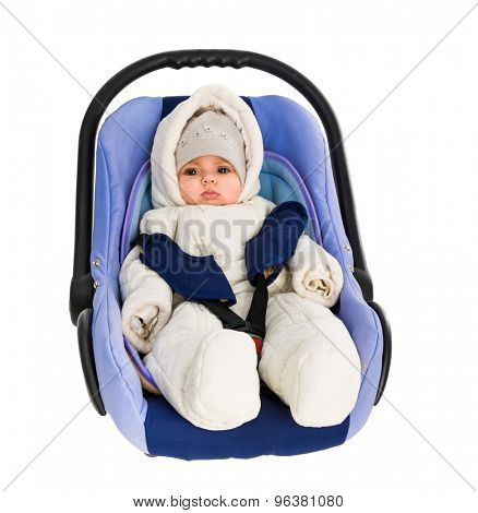 Six-month baby in a Car Seat, isolated on white
