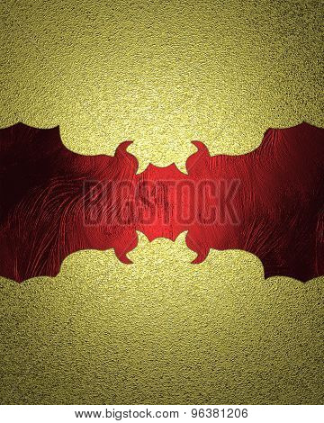 Golden Grunge Background With A Red Pattern For Text. Element For Design. Template For Design. Abstr