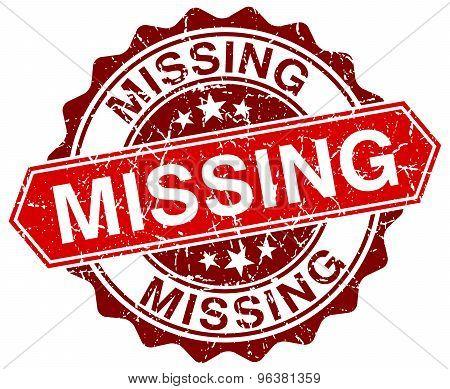 Missing Red Round Grunge Stamp On White