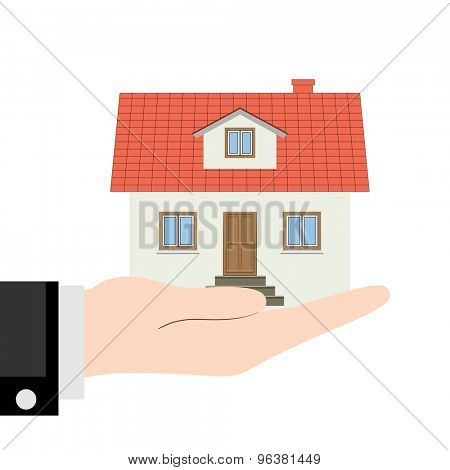 House in the Hand. Icon Mansion Isolated on white background. Illustration. Vector eps10.