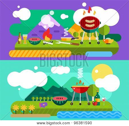 Barbecue and Food Outdoor. Vector Objects set. Outdoor, Kitchen or Meat symbols. Stock design elemen