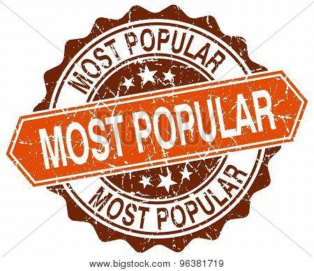Most Popular Orange Round Grunge Stamp On White