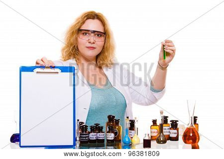 Female Chemistry Student With Glassware Test Flask.