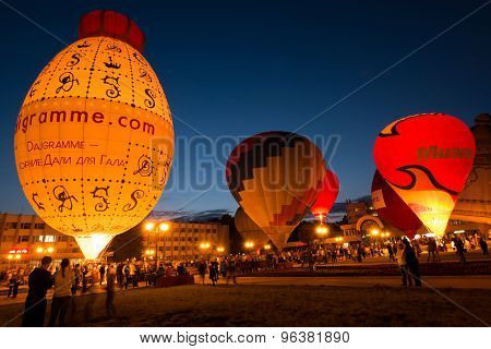 Hot Air Balloons With Night Glow.