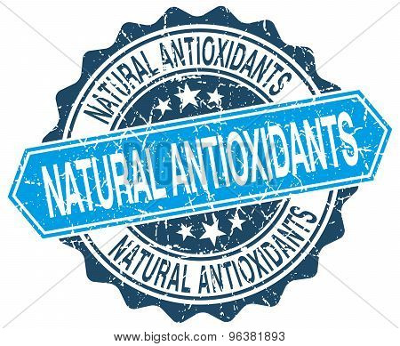 Natural Antioxidants Blue Round Grunge Stamp On White
