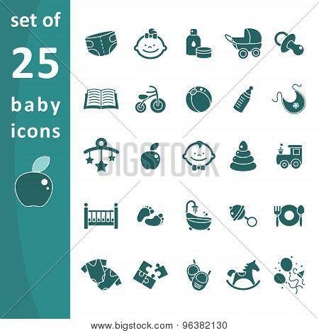 Set of monochrome icons baby