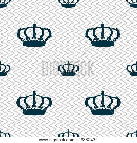 Crown Icon Sign. Seamless Pattern With Geometric Texture. Vector