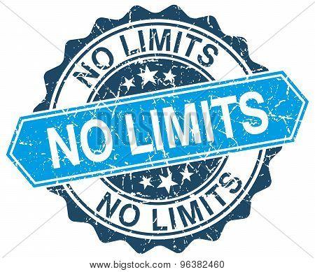 No Limits Blue Round Grunge Stamp On White