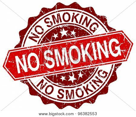 No Smoking Red Round Grunge Stamp On White