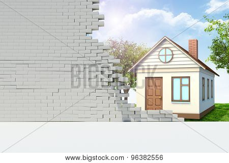 House in broken wall