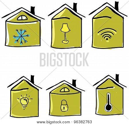 Set of drawn houses. Vector illustration