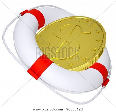 Lifebuoy with golden dollar