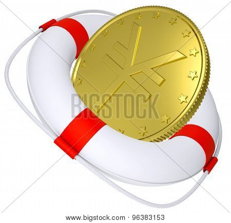 Lifebuoy with golden yen