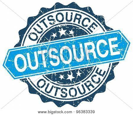 Outsource Blue Round Grunge Stamp On White