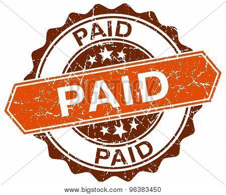 Paid Orange Round Grunge Stamp On White
