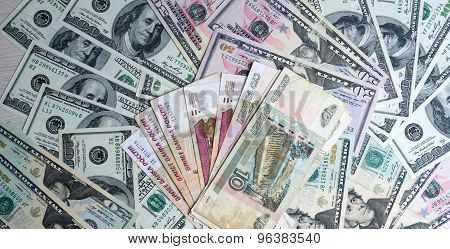 Russian Rubles On A Pile Of Dollars