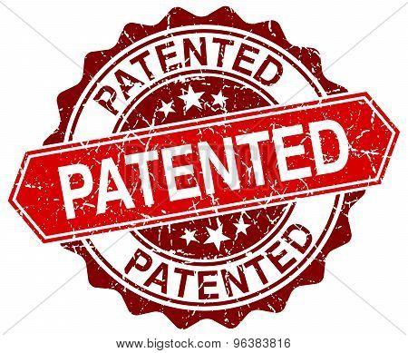 Patented Red Round Grunge Stamp On White