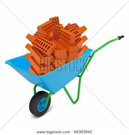 Pile of bricks in hand-barrow