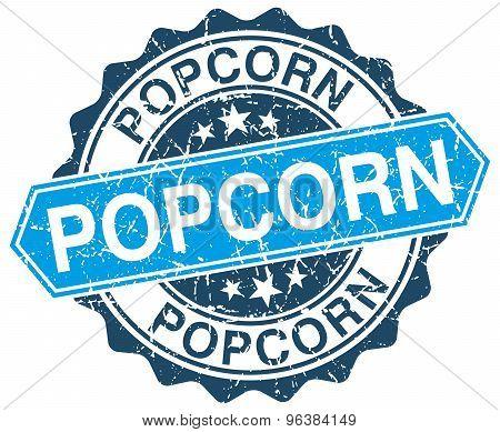 Popcorn Blue Round Grunge Stamp On White