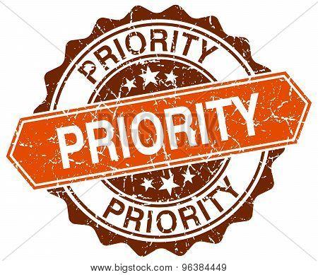 Priority Orange Round Grunge Stamp On White