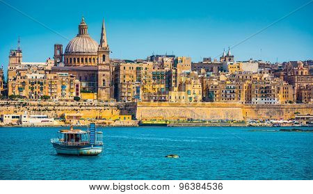 scenic View of Marsamxett Harbour and Valletta in Malta