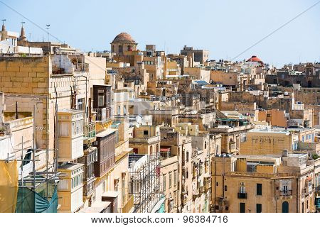 beautiful view on houses and roofs of Valletta in Malta from high