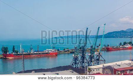 Industrial ship in Batumi port. Georgia