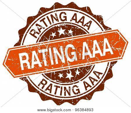 Rating Aaa Orange Round Grunge Stamp On White