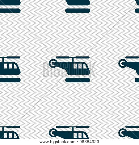 Helicopter Icon Sign. Seamless Pattern With Geometric Texture. Vector