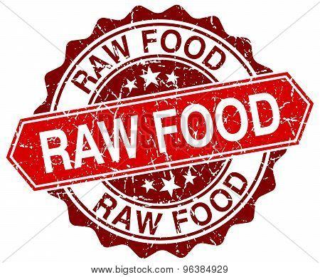 Raw Food Red Round Grunge Stamp On White
