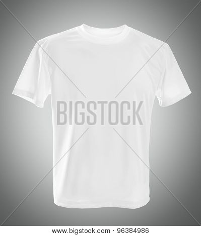 white T-shirts front template on gray background